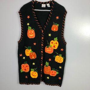 Pumpkin fall Halloween sweater vest